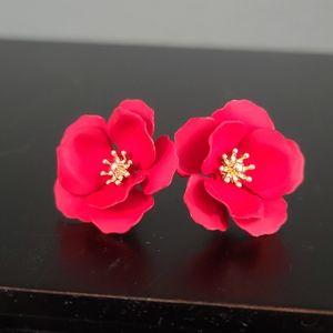 Red 3 Dimensional Flower Earrings